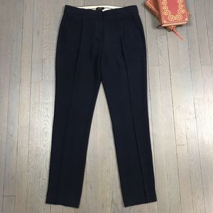 J.Crew Navy Blue Pleated Straight Leg Ankle Pants